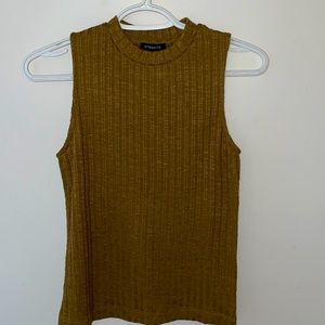 High neck ribbed tank top, size S, form fitting